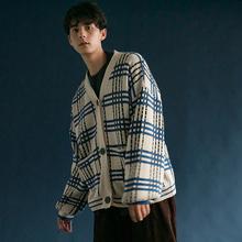 日系文艺复古宽松灯笼袖格纹长ti11毛衣开mo格子针织外套秋