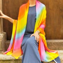 彩虹拍ti丝巾女士旅ge两用披肩海边沙滩巾多功能纱巾