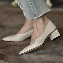 皮厚先ti 中跟尖头mi粗跟浅口单鞋女真皮春秋新式时尚鞋子女