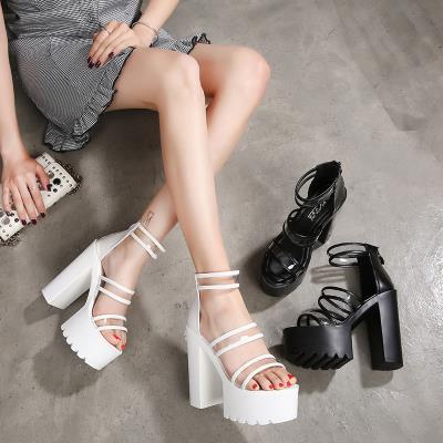 欧美超高跟恨天ti粗跟厚底凉faDS女鞋模特性感走秀舞蹈演出鞋