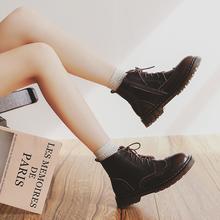伯爵猫ti019秋季an皮马丁靴女英伦风百搭短靴高帮皮鞋日系靴子