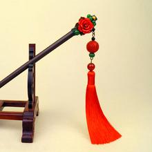 中国风红色步摇ti簪古风汉服an苏长头饰发钗发饰古装超仙簪子