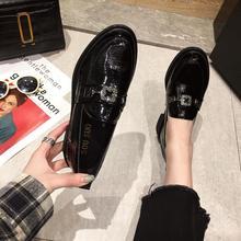 单鞋女ti021新式ef尚百搭英伦(小)皮鞋女粗跟一脚蹬乐福鞋女鞋子