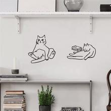 北欧itis猫星的可ka简笔画宠物店铺宝宝房间布置装饰墙上贴纸