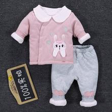 婴儿夹棉衣服秋冬季两ti7套装冬装ka加棉6女宝宝1-2岁3个月0