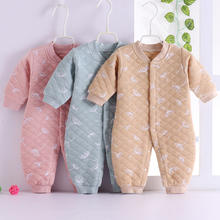 婴儿连ti0衣秋冬保ka岁女宝宝冬装6个月新生儿衣服0纯棉3睡衣