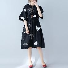 大码女ti夏季文艺松ba鱼印花裙子收腰显瘦遮肉短袖棉麻连衣裙