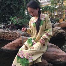 美袍儿ti祥布衣 『ba夏季文艺复古民族风亚麻连衣裙手工袍子