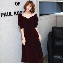 酒红色丝绒晚礼服平时可穿