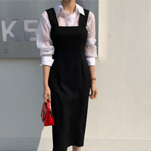 21韩ti春秋职业收ec新式背带开叉修身显瘦包臀中长一步连衣裙