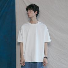 韩款纯ti基础式百搭xi棉T恤衫潮的男女宽松BF简约打底短袖tee