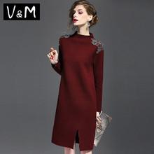 202ti秋冬季新式ic珠长袖毛衣女气质中长式加厚针织连衣裙欧货