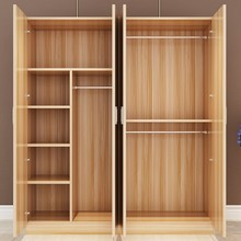 衣柜简ti现代经济型ic童大衣橱卧室租房木质实木板式简易衣柜