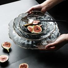 舍里 ti式金边玻璃ng客厅家用现代创意水晶玻璃沙拉碗甜品碗