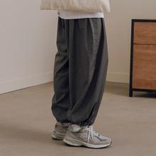 NOTtiOMME日ng夏季高垂感宽松纯色男士薄式阔腿休闲裤子