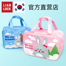 韩国联tj学生饭盒包mg当包带拉链手拎袋可平放餐盘加厚保温包