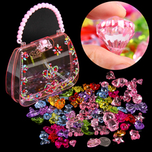 儿童宝石玩具女tk钻石水晶七bc料diy手工串珠生日3-7岁礼物