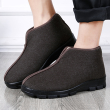 冬季老tk京布鞋老的bc厚保暖防滑中老年软底爸爸鞋大码男棉鞋