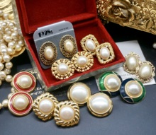 Vintkage古董bc来宫廷复古着珍珠中古耳环钉优雅婚礼水滴耳夹