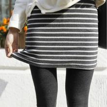 假两件tk底裤裙裤2bc秋冬新式高腰修身显瘦加绒加厚外穿条纹女裤