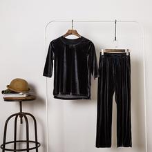 金丝绒中袖上tk3+阔腿裤bc丝绒时尚名媛运动套装女
