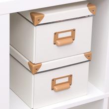 纸质收tk盒办公桌收za文件盒纸盒书柜架纸箱子带盖sna
