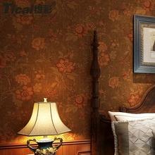 缇彩美tk乡村墙纸复w5大花卧室客厅电视背景墙无纺布壁纸绿色