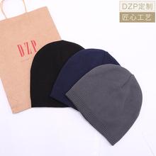 日系DtlP素色秋冬cr薄式针织帽子男女 休闲运动保暖套头毛线帽