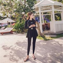 韩国分tl裙式防晒女cr显瘦速干长袖长裤水母衣浮潜衣服