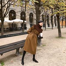 朱(小)姐tl冬季皮裙宽cr过膝中长裙子女复古两件套毛衣皮连衣裙