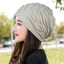 韩款新tl帽子女薄式sh时尚堆堆帽包头帽光头不透头巾帽月子帽