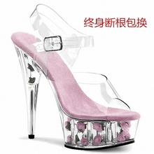 15ctm钢管舞鞋 jd细跟凉鞋 玫瑰花透明水晶大码婚鞋礼服女鞋