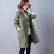 202tn新式妈妈春cp风衣女中长式大码中年女士气质减龄休闲外套