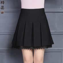 中年女to丝边短裙春tt身裙新式黑色弹力棉百褶裙安全裤裙厚式