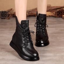 高端牛to马丁靴厚底of单靴软底系带短靴拉链加绒头层牛皮女靴