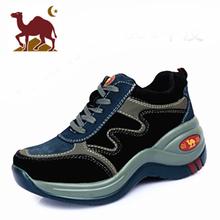 骆驼女to增高鞋20of式厚底坡跟鞋户外登山真皮轻便松糕跟运动鞋