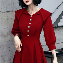 敬酒服to娘2020or婚礼服回门连衣裙平时可穿酒红色结婚衣服女