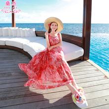 沙滩裙to国海边度假of亚长裙雪纺碎花显瘦海滩女夏裙子连衣裙
