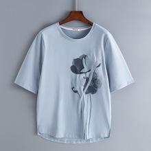 202to新式纯棉中ha女短袖宽松半袖大码中年妈妈夏装洋气上衣服
