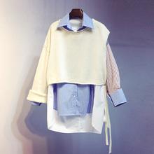 202to秋装韩款新ti套衬衣中长式宽松条纹长袖衬衫外套上衣女装