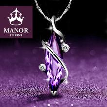 纯银紫to晶女锁骨链ti吊坠银饰送女友生日情的节礼物