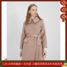 羊绒大to冬加厚气质mu瘦原创设计复古赫本风大翻领长式外套女