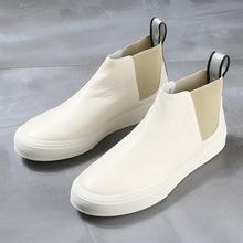 锐采冬to新式男靴真le休闲鞋潮流简约皮靴户外牛仔靴短靴男鞋