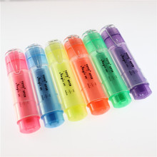 东洋(toOYO)荧on无味糖果色斜头透明杆彩色标记笔粗划重点粗荧光水  SP2