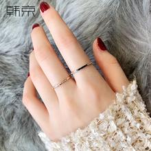 韩京钛to镀玫瑰金超on女韩款二合一组合指环冷淡风食指
