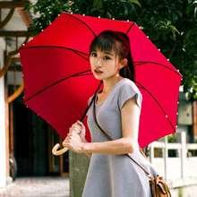 洋伞红色to1廷公主伞on柄复古手工珍珠边直杆伞晴雨伞女