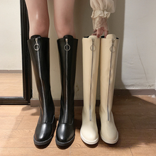 202to秋冬新式性on靴女粗跟过膝长靴前拉链高筒网红瘦瘦骑士靴