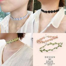 颈链女短款锁骨链脖子饰品to9圈颈带性to丝网红花朵项链装饰