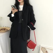yestooom自制ha式中性BF风宽松垫肩显瘦翻袖设计黑西装外套女