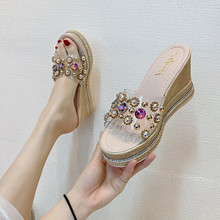 坡跟凉to鞋女外穿2ha夏季新式时尚复古铆钉超高跟厚底透明拖鞋女